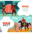 wild west duel banners vector image