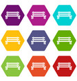 wooden bench icon set color hexahedron vector image vector image