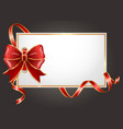 wrapped gift card with festive ribbon and bow vector image