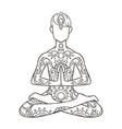 yoga man line drawing ornament vector image