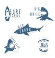 Shark logo concept for surf or beach club vector image
