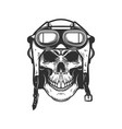 aviator skull in aviators helmet design element vector image