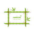 Background with green bamboo frame vector image vector image