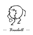 Baseball game cartoon character of a