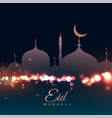 beautiful mosque on bokeh background vector image vector image