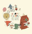 birthday card with cute animals celebrating vector image vector image