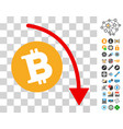 bitcoin fall down trend icon with bonus vector image vector image