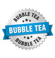 bubble tea round isolated silver badge vector image vector image