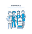 busy people employees clerk doctor vector image