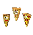 Cartoon pizza slices vector image vector image