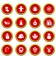 christmas icon red circle set vector image vector image