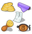 coins stamp and other symbol on banking theme vector image