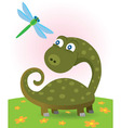 dinosaur and dragonfly vector image vector image
