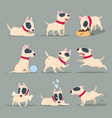 dog in day activity funny cartoon puppy daily vector image
