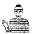 doodle sketch egocentric hipster vector image vector image