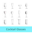 empty fragile cocktail glasses of all shapes set vector image