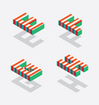 english isometric alphabet with bright red stripes vector image vector image
