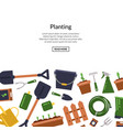 flat gardening icons background with place vector image vector image