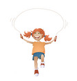 girl with jumping rope vector image