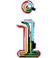 Grunge colorful font Letter i vector image vector image
