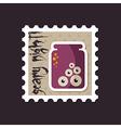 Halloween eye glass jar stamp vector image
