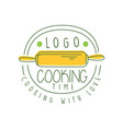 hand drawn cooking with love logo original design vector image
