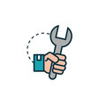 hand with wrench work tools engineering icon vector image vector image