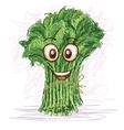 Happy kangkong vegetable cartoon character smiling