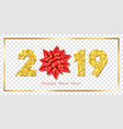 happy new year card 3d gift red ribbon bow gold vector image vector image