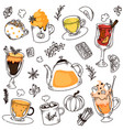 hot drink variety hand drawing collage on white