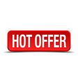 Hot offer red 3d square button on white background vector image vector image