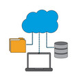 laptop computer connection cloud folder and data vector image