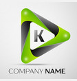 Letter k logo symbol in the colorful triangle on