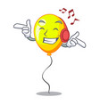 listening music character yellow balloon ticket on vector image