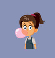 little girl chewing bubble gum vector image