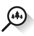 magnifying glass with tree icon vector image vector image