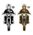man ride a vintage motorcycle vector image vector image