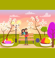 man with mustache takes girl in his arms in garden vector image