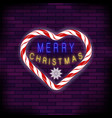merry christmas colorful neon sign with heart on vector image