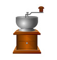 old coffee grinder with long handle on wooden vector image vector image