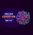 online education neon banner design vector image