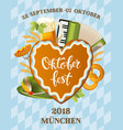 poster for oktoberfest festival beer set with tap vector image