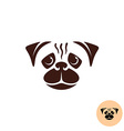 Pug dog face logo One color smooth lines style vector image