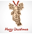 Reindeer in holiday clothes Paper label on ribbon vector image vector image