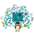 school background with tree and owl vector image