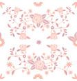 seamless pattern embroidered flowers on white vector image vector image
