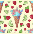 seamless pattern ice cream kiwi raspberry cherry vector image