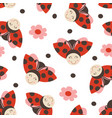 seamless pattern with funny ladybug vector image vector image