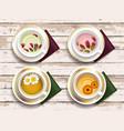 set cups herbal tea wooden background vector image
