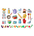 Set of kitchen utensils and fresh
